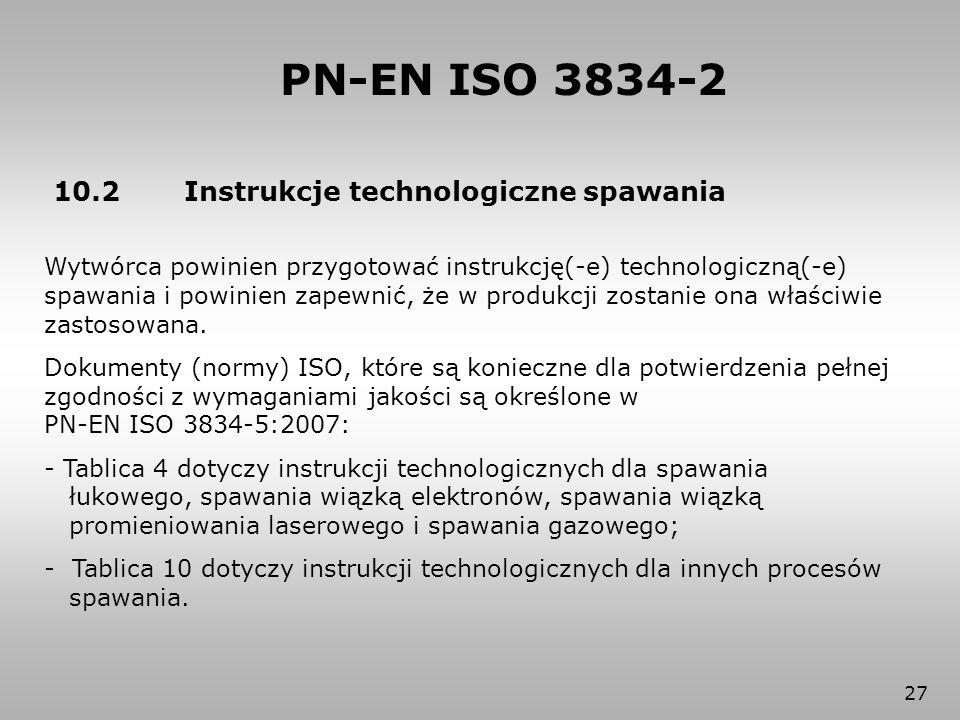 PN-EN ISO 3834-2 10.2 Instrukcje technologiczne spawania