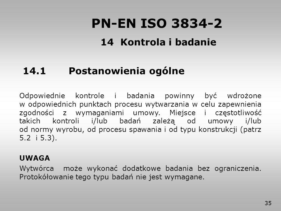 PN-EN ISO 3834-2 14 Kontrola i badanie 14.1 Postanowienia ogólne