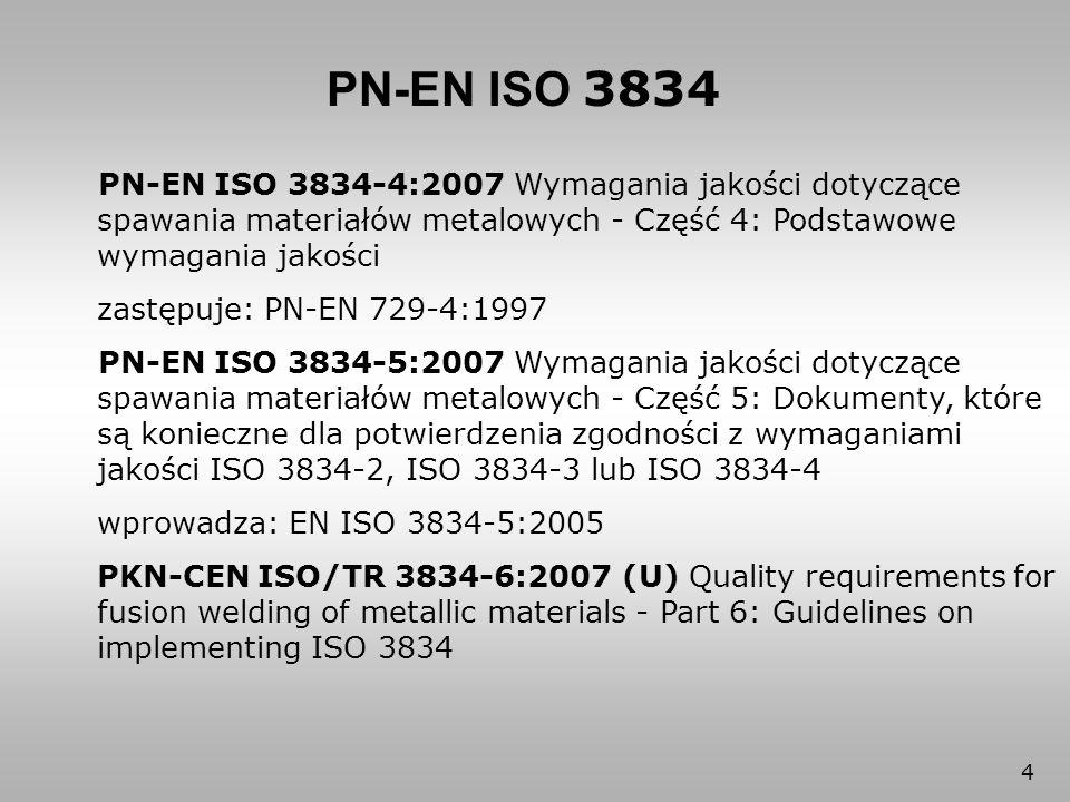 PN-EN ISO 3834 PN-EN ISO 3834-4:2007 Wymagania jakości dotyczące spawania materiałów metalowych - Część 4: Podstawowe wymagania jakości.