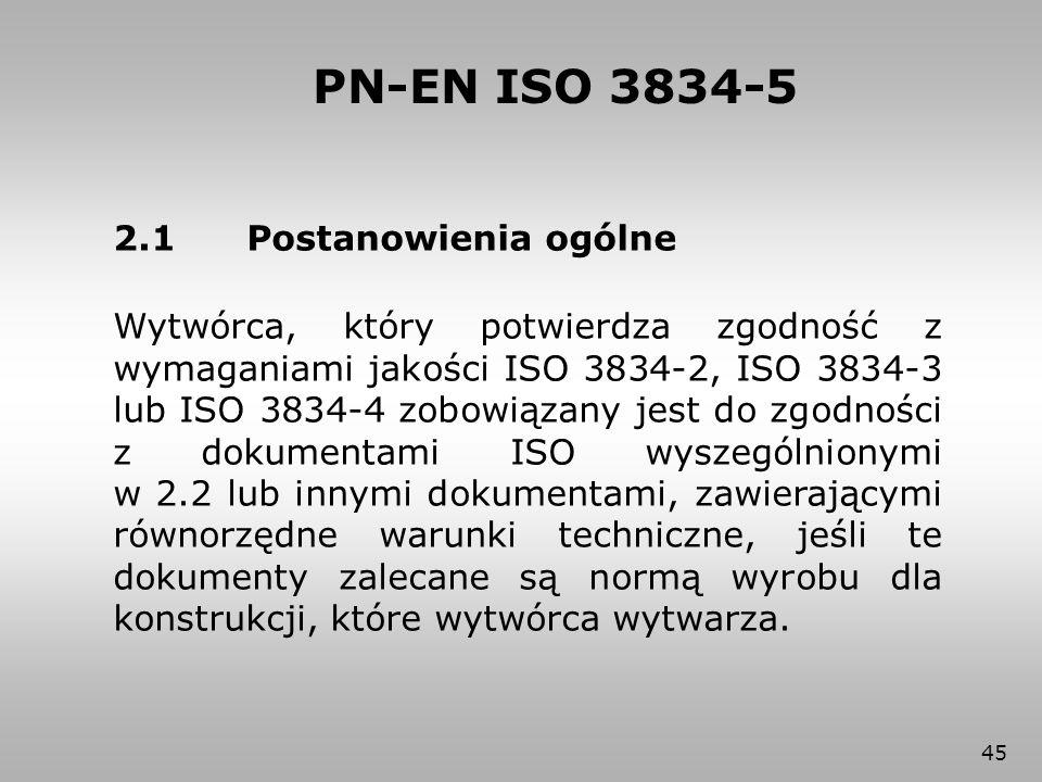 PN-EN ISO 3834-5 2.1 Postanowienia ogólne