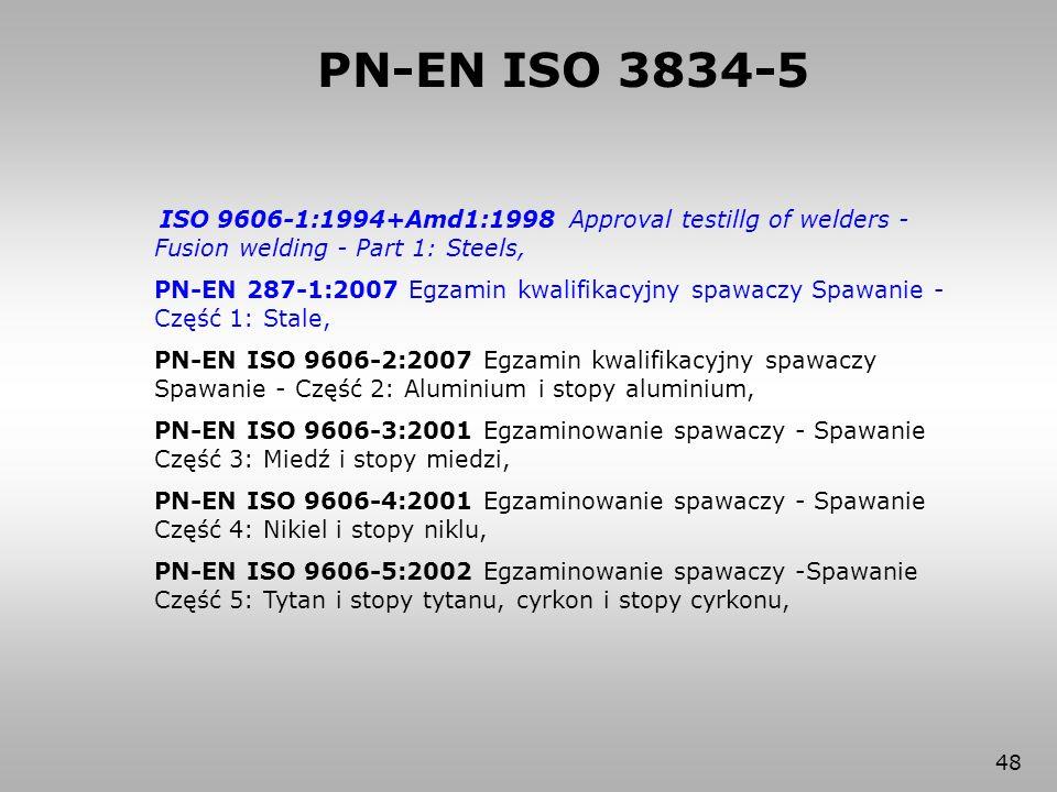 PN-EN ISO 3834-5 ISO 9606-1:1994+Amd1:1998 Approval testillg of welders - Fusion welding - Part 1: Steels,