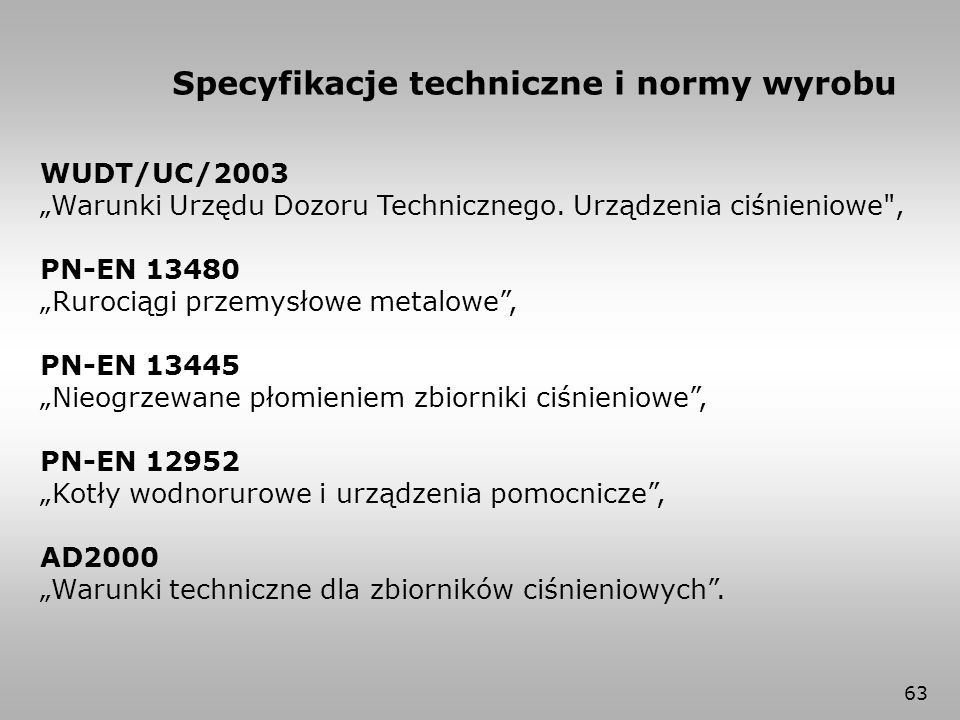Specyfikacje techniczne i normy wyrobu