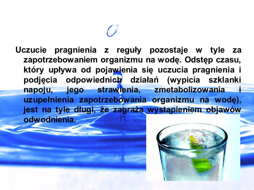 Uczucie pragnienia z reguły pozostaje w tyle za zapotrzebowaniem organizmu na wodę.