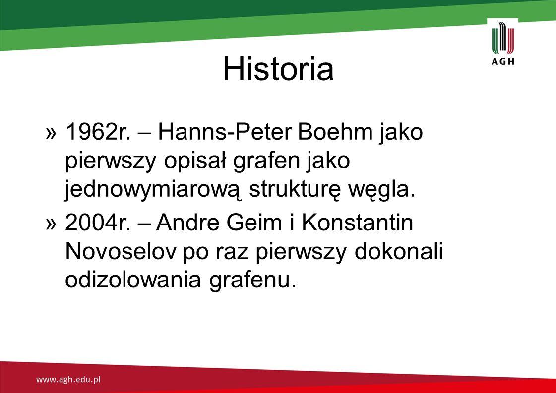 Historia 1962r. – Hanns-Peter Boehm jako pierwszy opisał grafen jako jednowymiarową strukturę węgla.