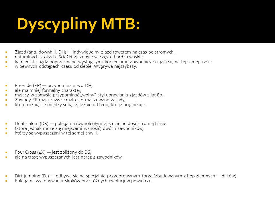Dyscypliny MTB: Zjazd (ang. downhill, DH) — indywidualny zjazd rowerem na czas po stromych,
