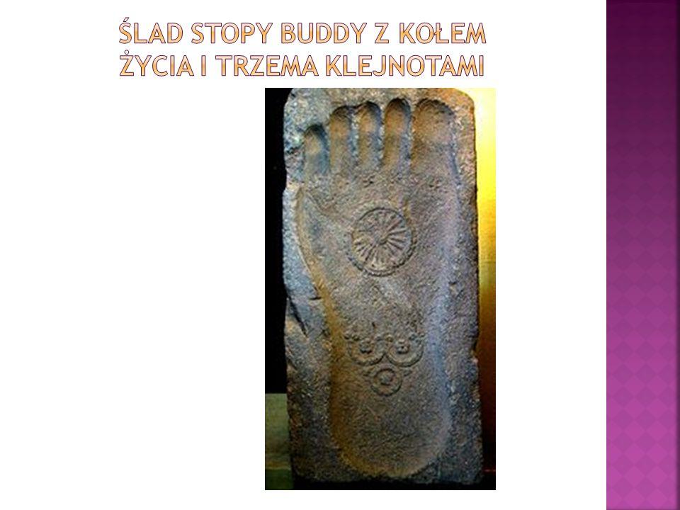 Ślad stopy Buddy z kołem życia i Trzema Klejnotami