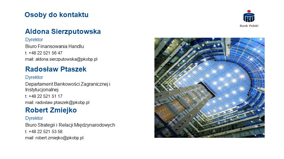 Osoby do kontaktu Aldona Sierzputowska Radosław Ptaszek Robert Zmiejko