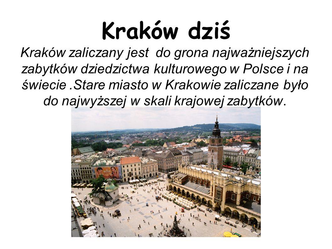 Kraków zaliczany jest do grona najważniejszych zabytków dziedzictwa kulturowego w Polsce i na świecie .Stare miasto w Krakowie zaliczane było do najwyższej w skali krajowej zabytków.