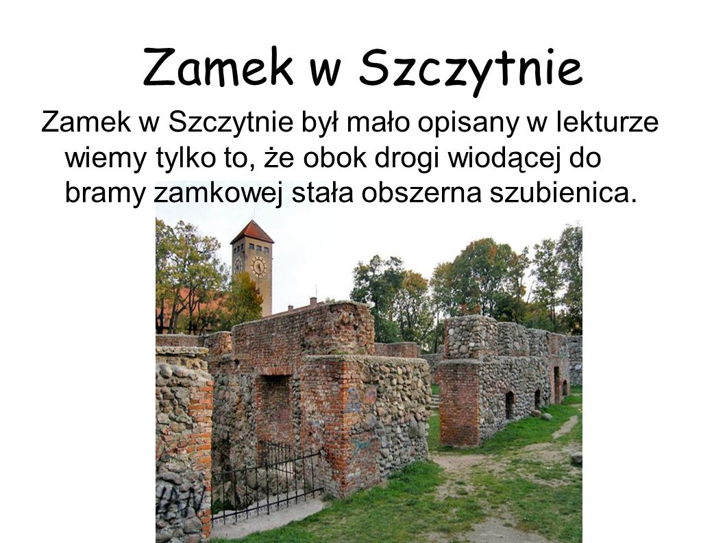 Zamek w Szczytnie Zamek w Szczytnie był mało opisany w lekturze wiemy tylko to, że obok drogi wiodącej do bramy zamkowej stała obszerna szubienica.