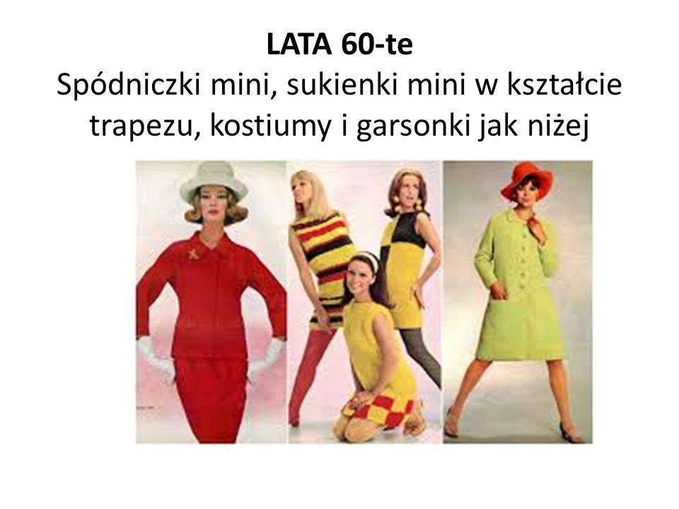 LATA 60-te Spódniczki mini, sukienki mini w kształcie trapezu, kostiumy i garsonki jak niżej