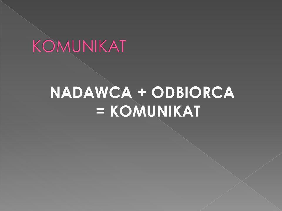 NADAWCA + ODBIORCA = KOMUNIKAT