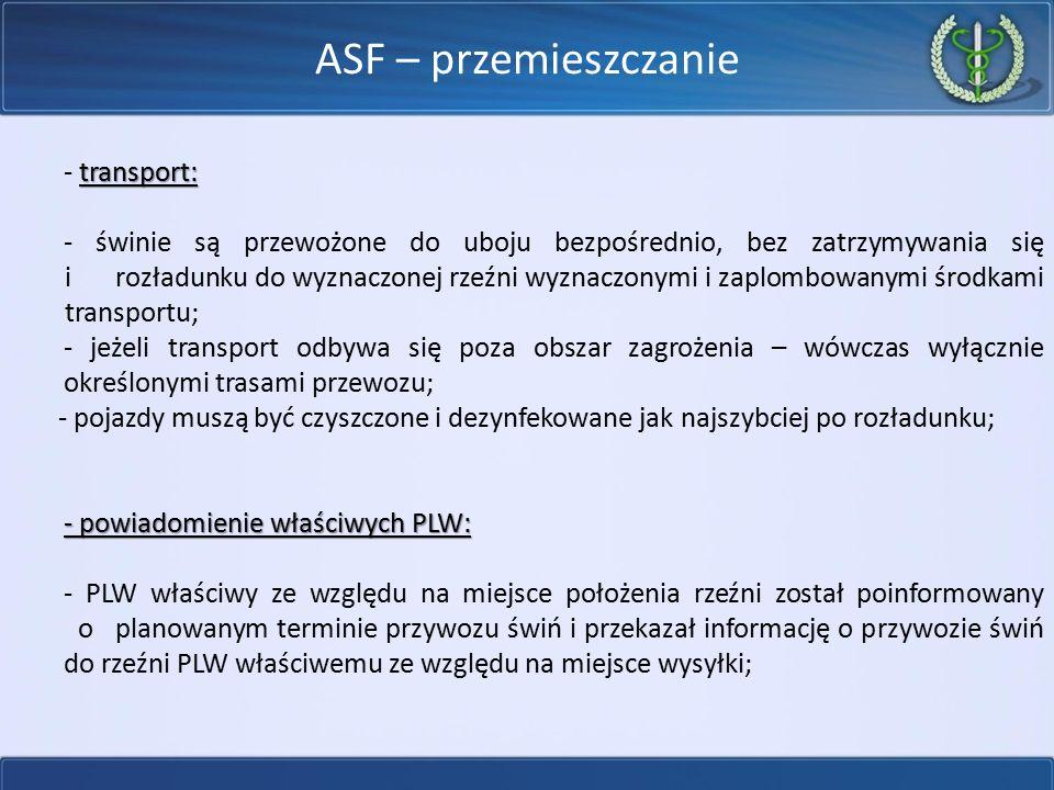 ASF – przemieszczanie - transport: