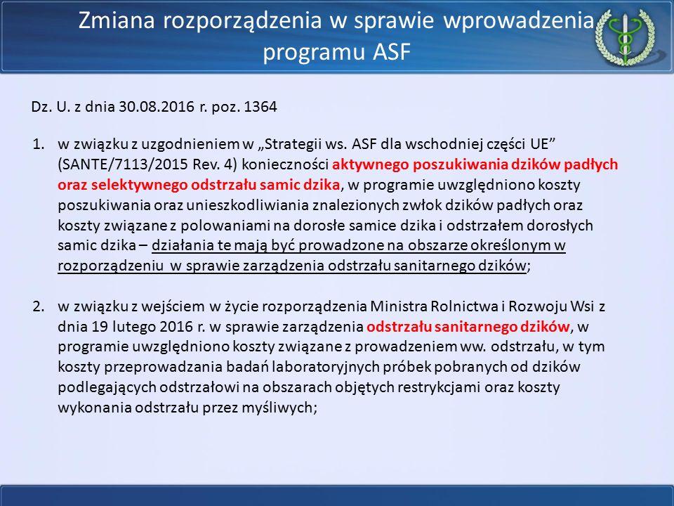 Zmiana rozporządzenia w sprawie wprowadzenia programu ASF