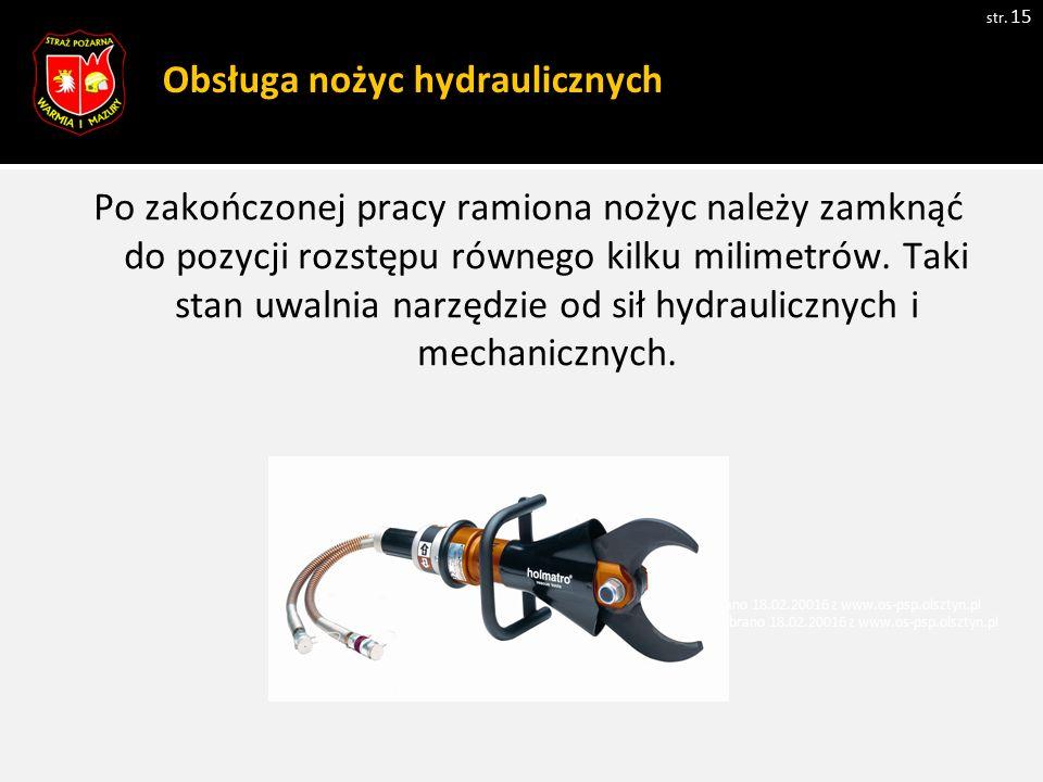 Obsługa nożyc hydraulicznych