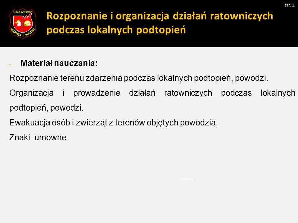 Rozpoznanie i organizacja działań ratowniczych podczas lokalnych podtopień