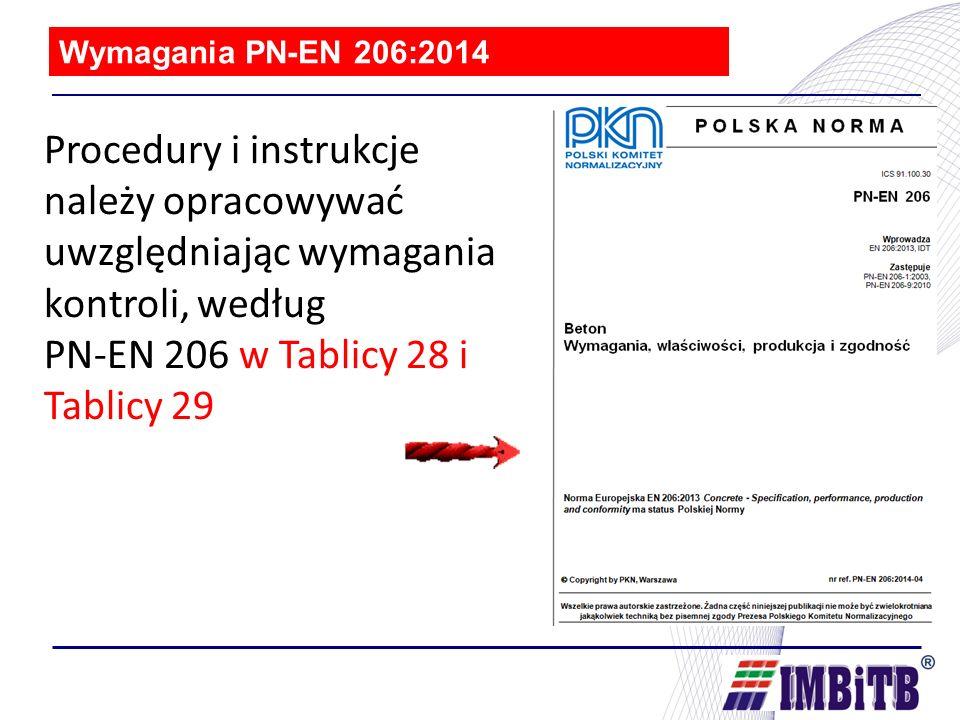 Wymagania PN-EN 206:2014 Procedury i instrukcje należy opracowywać uwzględniając wymagania kontroli, według PN-EN 206 w Tablicy 28 i Tablicy 29.
