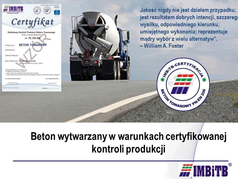 Beton wytwarzany w warunkach certyfikowanej kontroli produkcji