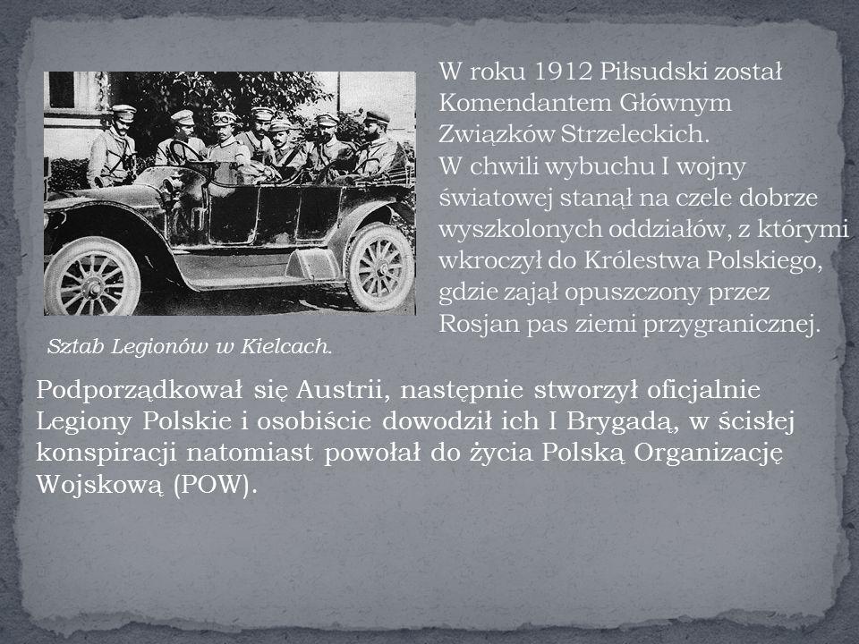 W roku 1912 Piłsudski został Komendantem Głównym Związków Strzeleckich