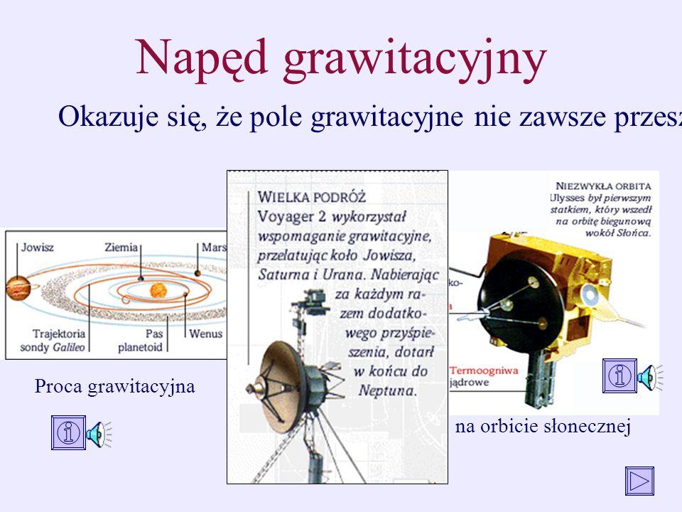 Napęd grawitacyjny Okazuje się, że pole grawitacyjne nie zawsze przeszkadza w lotach kosmicznych - nieraz pomaga.
