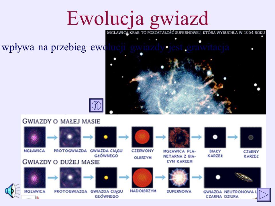 Ewolucja gwiazd Głównym czynnikiem, który wpływa na przebieg ewolucji gwiazdy jest grawitacja