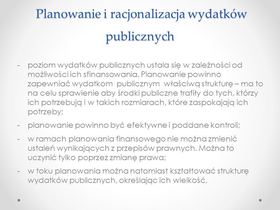 Planowanie i racjonalizacja wydatków publicznych
