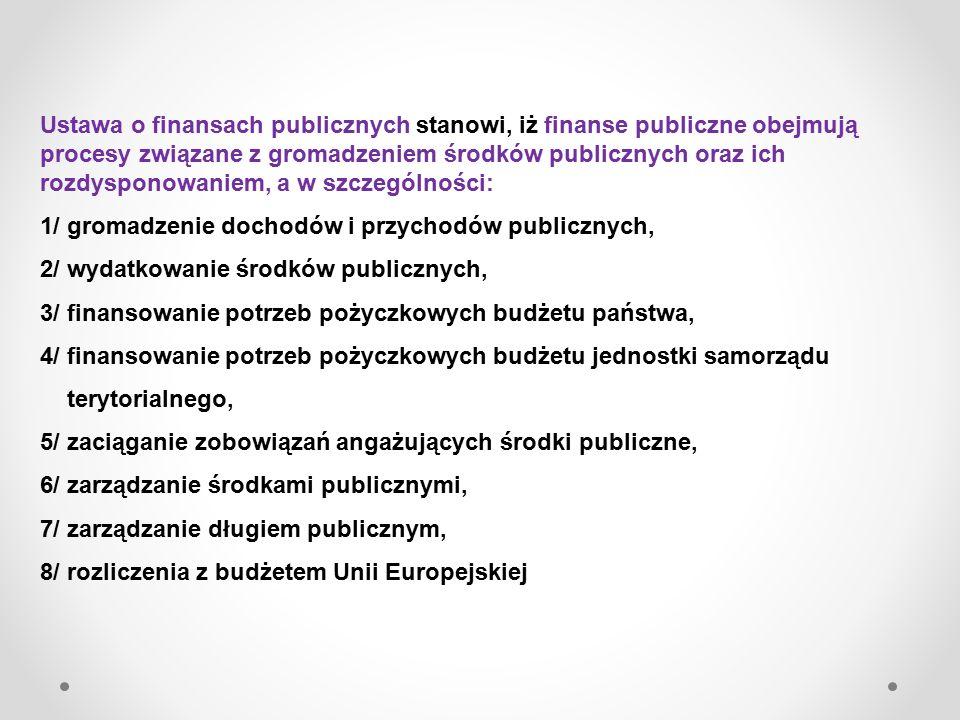 Ustawa o finansach publicznych stanowi, iż finanse publiczne obejmują procesy związane z gromadzeniem środków publicznych oraz ich rozdysponowaniem, a w szczególności: