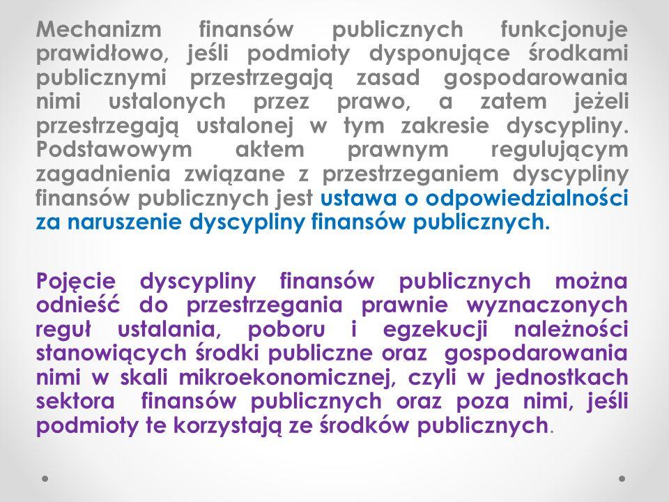 Mechanizm finansów publicznych funkcjonuje prawidłowo, jeśli podmioty dysponujące środkami publicznymi przestrzegają zasad gospodarowania nimi ustalonych przez prawo, a zatem jeżeli przestrzegają ustalonej w tym zakresie dyscypliny.