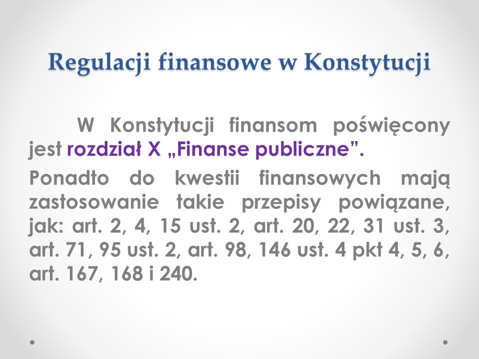 Regulacji finansowe w Konstytucji
