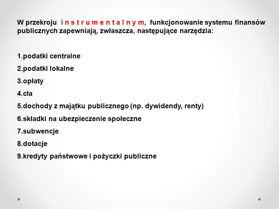 W przekroju i n s t r u m e n t a l n y m, funkcjonowanie systemu finansów publicznych zapewniają, zwłaszcza, następujące narzędzia: