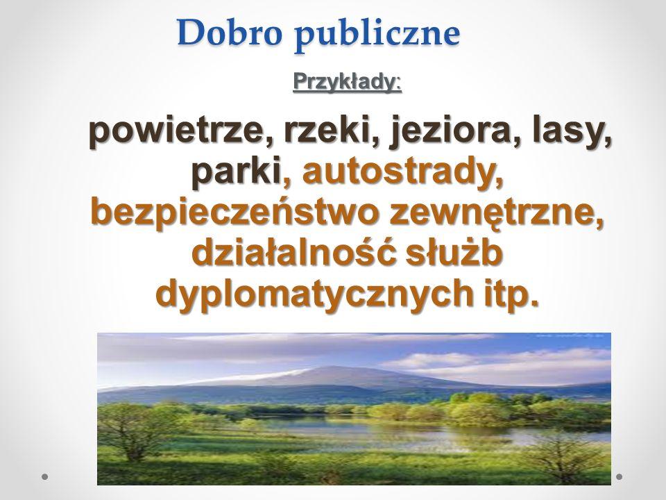 Dobro publiczne Przykłady: powietrze, rzeki, jeziora, lasy, parki, autostrady, bezpieczeństwo zewnętrzne, działalność służb dyplomatycznych itp.