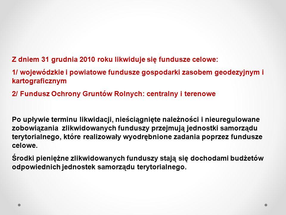 Z dniem 31 grudnia 2010 roku likwiduje się fundusze celowe: