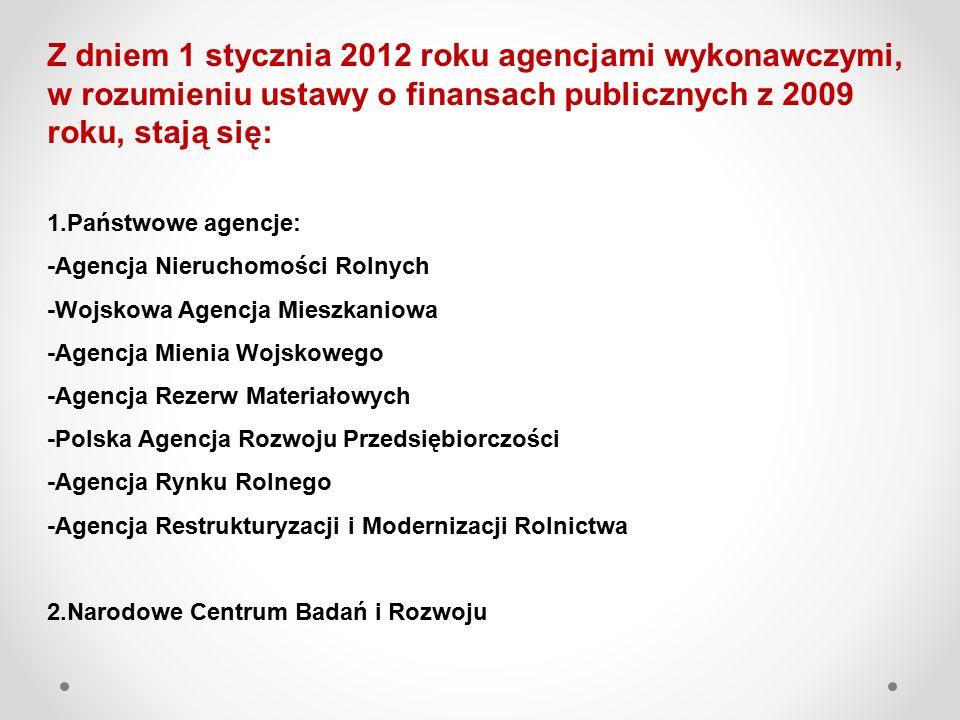 Z dniem 1 stycznia 2012 roku agencjami wykonawczymi, w rozumieniu ustawy o finansach publicznych z 2009 roku, stają się: