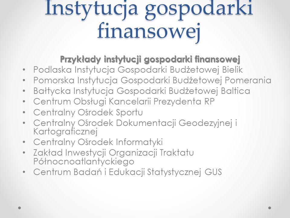 Instytucja gospodarki finansowej
