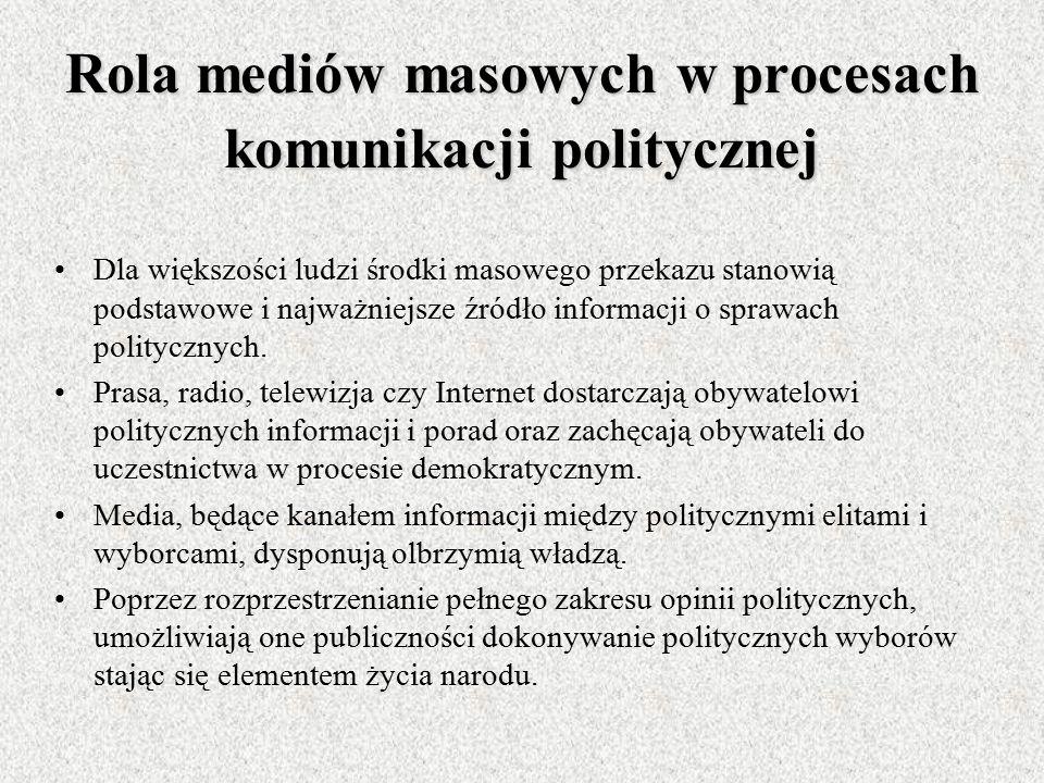 Rola mediów masowych w procesach komunikacji politycznej