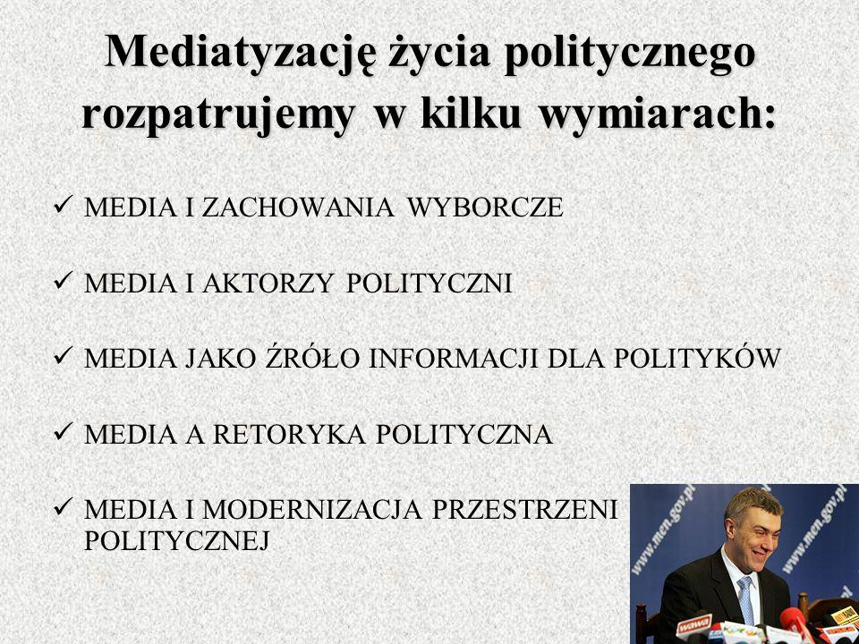 Mediatyzację życia politycznego rozpatrujemy w kilku wymiarach: