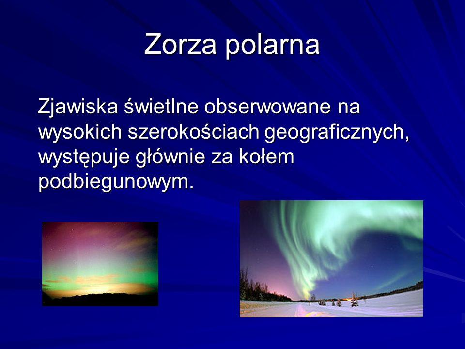 Zorza polarna Zjawiska świetlne obserwowane na wysokich szerokościach geograficznych, występuje głównie za kołem podbiegunowym.