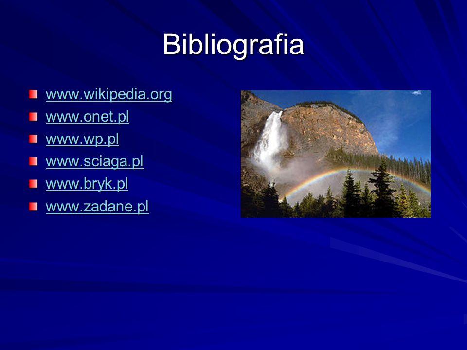Bibliografia www.wikipedia.org www.onet.pl www.wp.pl www.sciaga.pl