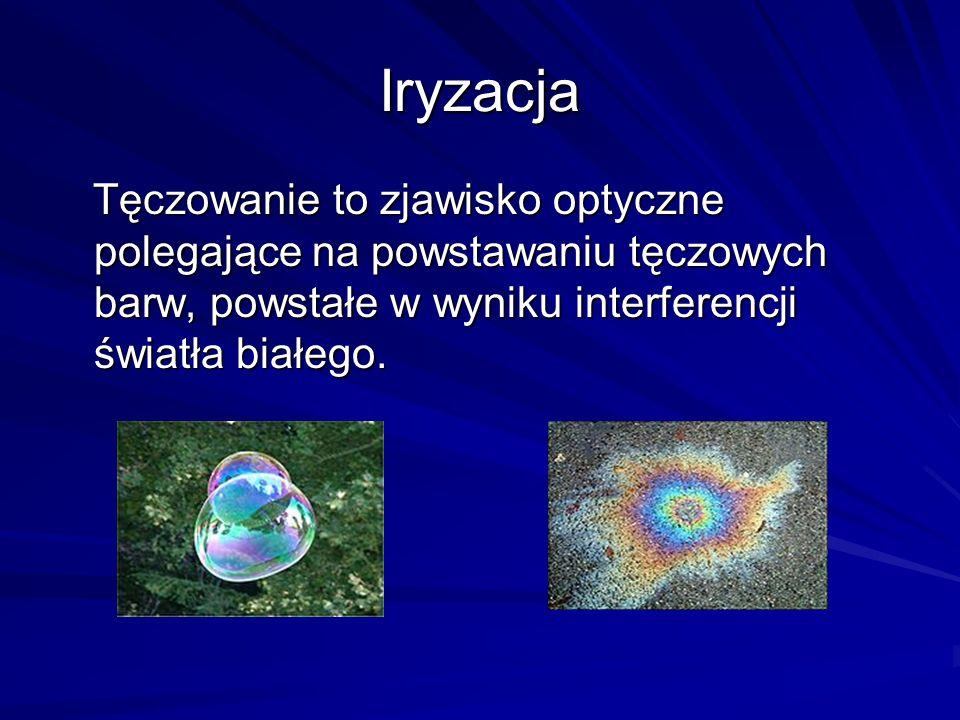 Iryzacja Tęczowanie to zjawisko optyczne polegające na powstawaniu tęczowych barw, powstałe w wyniku interferencji światła białego.
