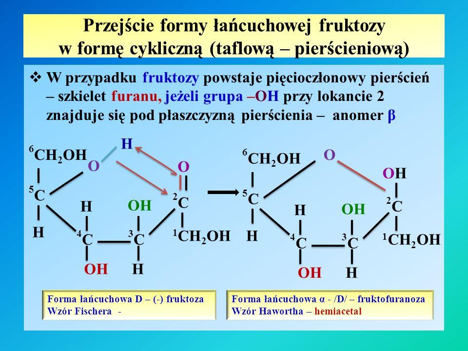 Przejście formy łańcuchowej fruktozy w formę cykliczną (taflową – pierścieniową)