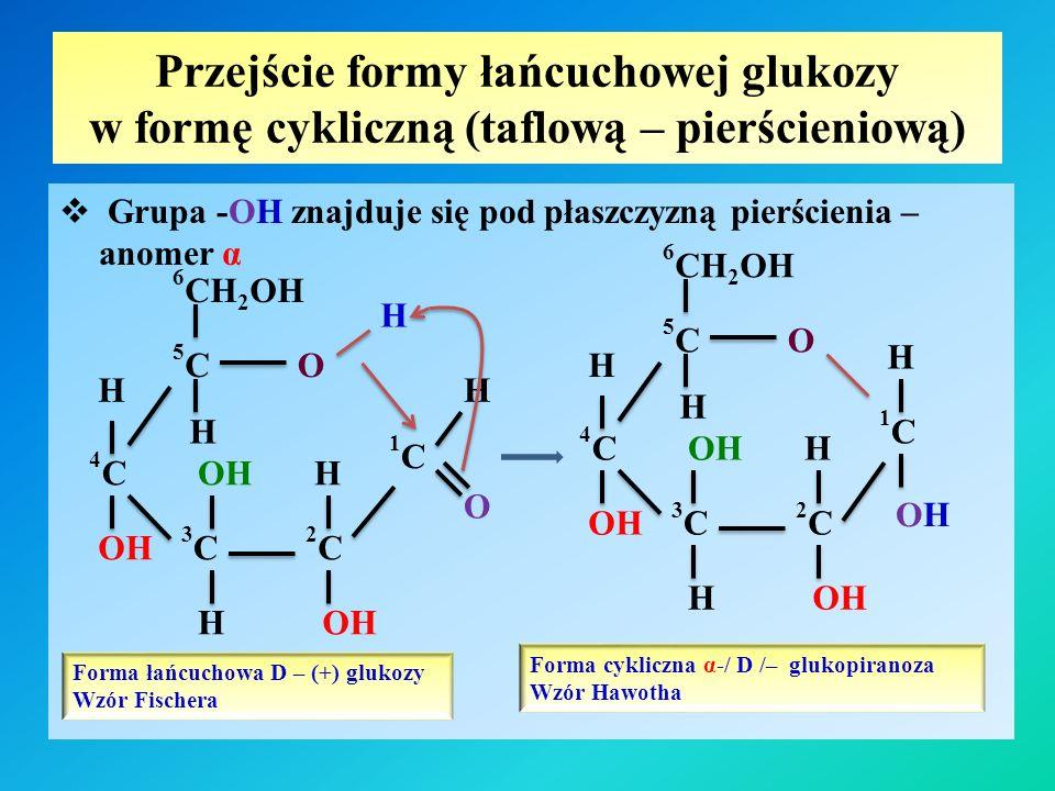 Przejście formy łańcuchowej glukozy w formę cykliczną (taflową – pierścieniową)