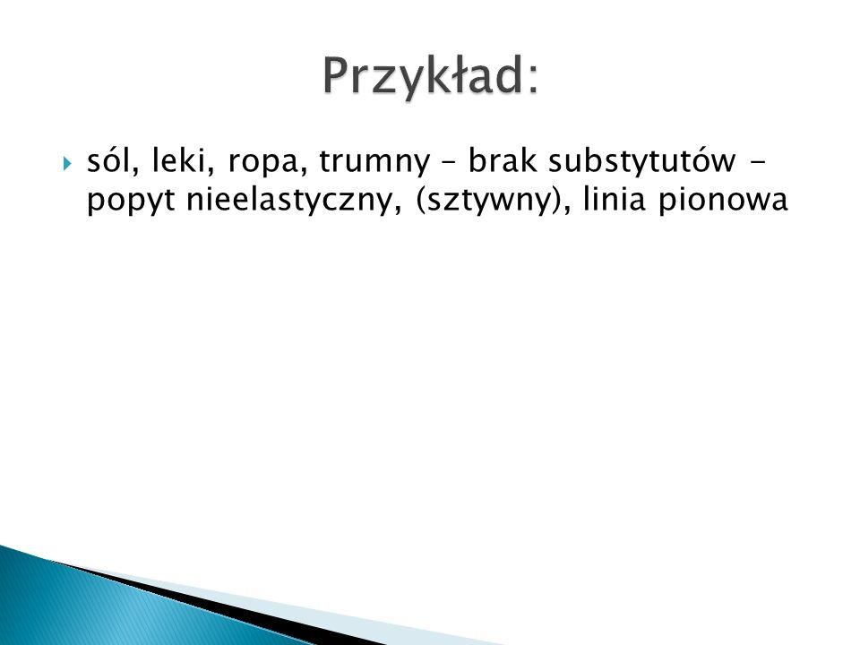 Przykład: sól, leki, ropa, trumny – brak substytutów - popyt nieelastyczny, (sztywny), linia pionowa.