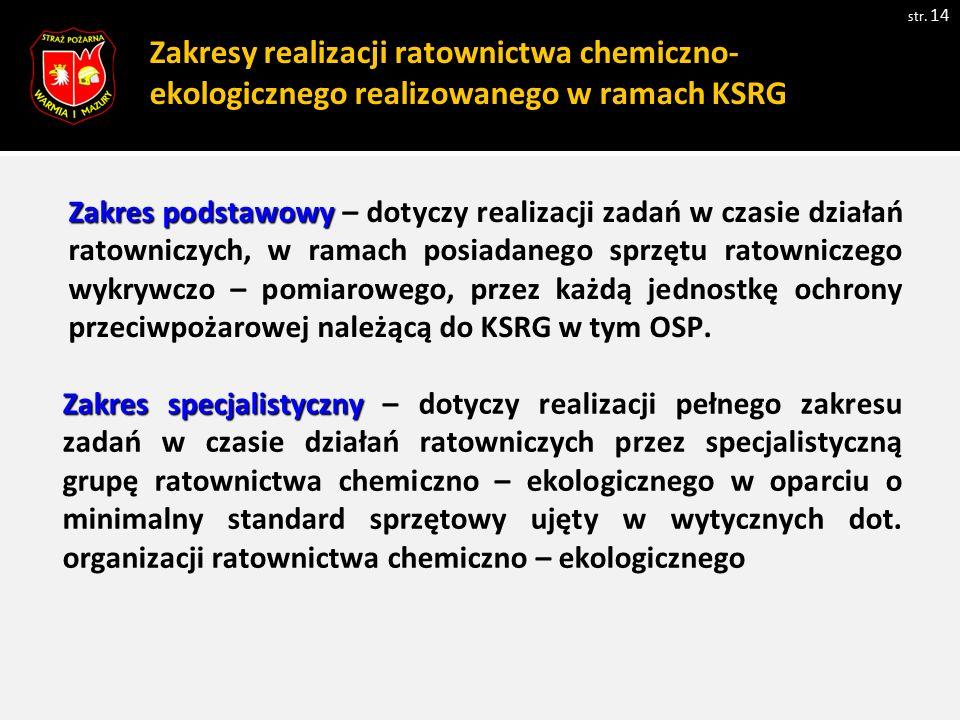 Zakresy realizacji ratownictwa chemiczno-ekologicznego realizowanego w ramach KSRG