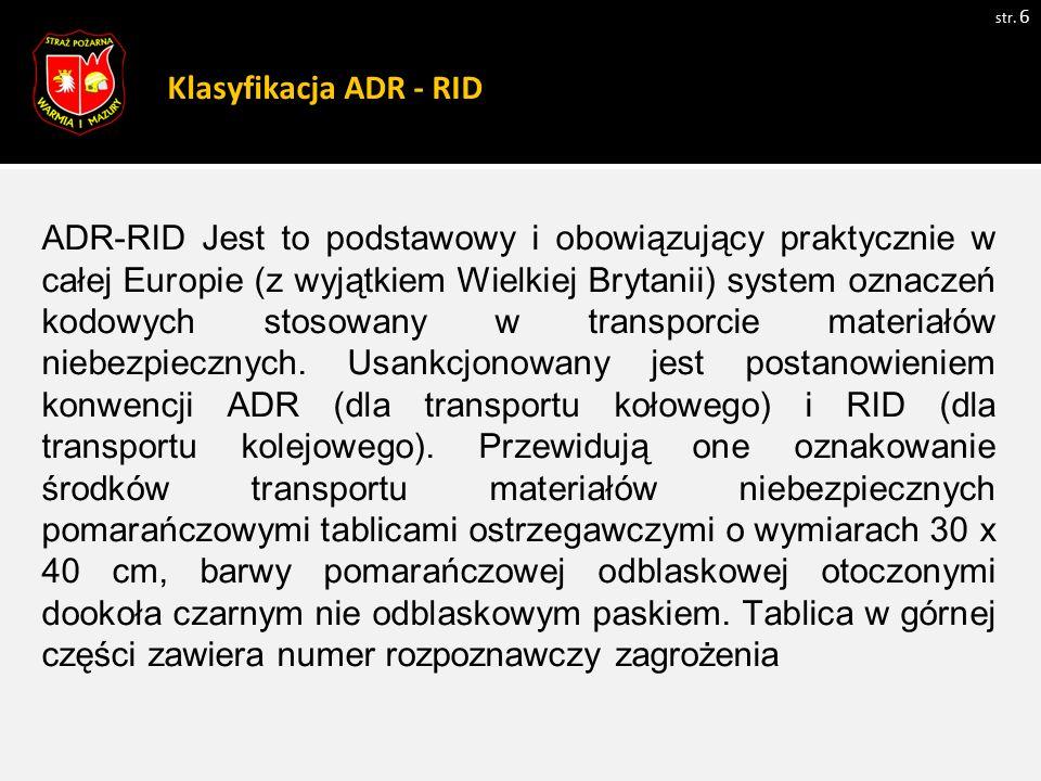 Klasyfikacja ADR - RID