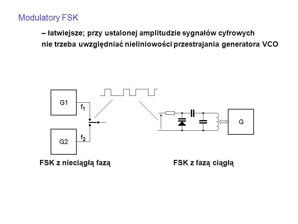 Modulatory FSK – łatwiejsze; przy ustalonej amplitudzie sygnałów cyfrowych. nie trzeba uwzględniać nieliniowości przestrajania generatora VCO.