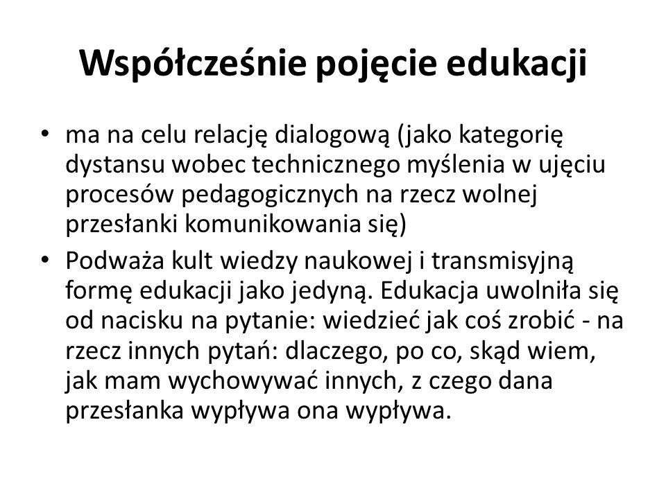 Współcześnie pojęcie edukacji