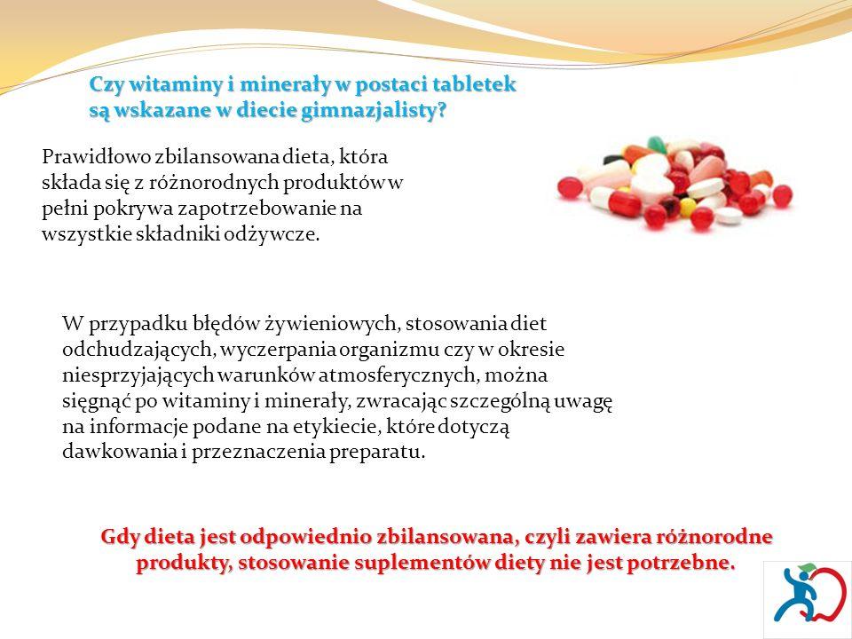 Czy witaminy i minerały w postaci tabletek są wskazane w diecie gimnazjalisty