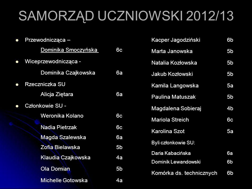 SAMORZĄD UCZNIOWSKI 2012/13 Przewodnicząca – Dominika Smoczyńska 6c