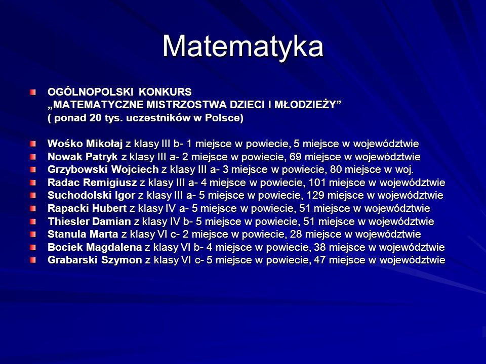 Matematyka OGÓLNOPOLSKI KONKURS