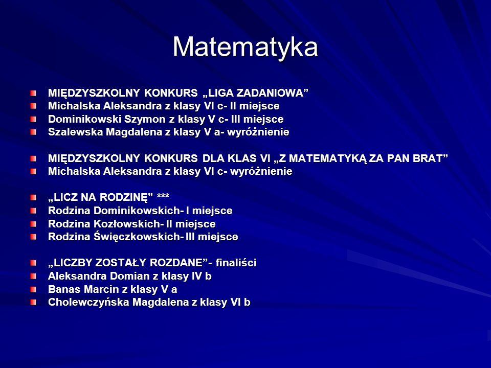 """Matematyka MIĘDZYSZKOLNY KONKURS """"LIGA ZADANIOWA"""