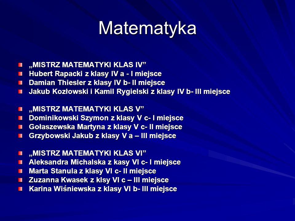 "Matematyka ""MISTRZ MATEMATYKI KLAS IV"